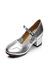 """Women's Latin Leather Split Sole Indoor Buckle Stitching Lace Low Heel Silver 1"""" - 1 3/4"""" Non Customizable"""