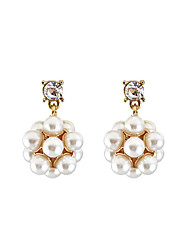 Women's Girls' Drop Earrings Crystal Imitation Pearl Unique Design Flower Style Tag Flowers Floral Fashion Personalized Hypoallergenic