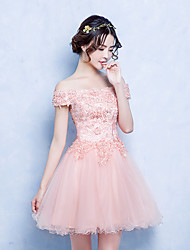 cheap -A-Line Princess Off-the-shoulder Short / Mini Tulle Cocktail Party Dress with Appliques Lace by MYF