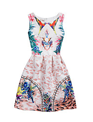 Girl's Daily School Holiday Print Dress,Polyester Summer Sleeveless Floral Blushing Pink