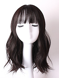 cheap -Popular Black Color Wave Synthetic Hair Full Bang Daily Wig for Women