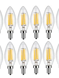 5W E14 LED Filament Bulbs C35 6 COB 560 lm Warm White Cold White 2700 6000 K Decorative AC 220-240 V 12pcs