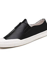cheap -Men's Leather Spring / Fall Comfort Sneakers Walking Shoes White / Black / Gray