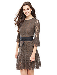 Women's Party Going out Sexy Street chic Fashion Slim Thin Lace Dress Solid Midi Flare Long Sleeve Black /Gray Nylon /Spandex Spring /Fall