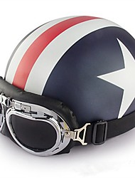 Half Face Motorcycle Helmet with Captain America Pattern Flexible ABS Street Motorcycle Helmet