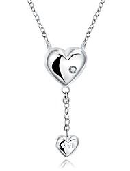 Недорогие -Жен. Сердце Любовь Ожерелья с подвесками Синтетический алмаз Серебрянное покрытие Ожерелья с подвесками , Новогодние подарки Свадьба Для