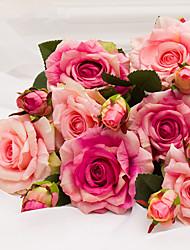3 Piezas 3 Rama Plástico Rosas Flor de Mesa Flores Artificiales