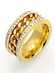 cheap -Men's Women's Band Ring AAA Cubic Zirconia Gold Silver Cubic Zirconia Titanium Steel 18K Gold Square Geometric Irregular Personalized