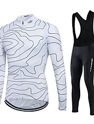 cheap -Fastcute Men's / Women's Long Sleeve Cycling Jersey with Bib Tights - White Bike Pants / Trousers / Jersey / Tights, 3D Pad, Thermal / Warm, Quick Dry Polyester, Fleece, Silicon / Breathable / Lycra
