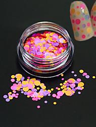 1Bottle Fashion Sweet Design Nail Art Glitter Colorful Round Slice Romantic Design Paillette Nail Art DIY Beauty Round Slice Decoration P27