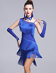 cheap -Latin Dance Dresses Women's Performance Viscose Crystals/Rhinestones Tassel(s) 5 Pieces Sleeveless Natural Dress Gloves Neckwear Shorts