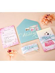 Tasca Inviti di nozze 50-Set per partecipazioni ed inviti Inviti promemoria per matrimonio Briefcase Busta Sticker Programma Fan Menu di