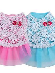 baratos -Cachorro Vestidos Roupas para Cães Fofo Casual Fashion Pontos Polka Azul Rosa claro Ocasiões Especiais Para animais de estimação