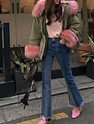 Damer Enkel Mikroelastisk Bootcut Jeans Bukser,Højtaljede Ensfarvet