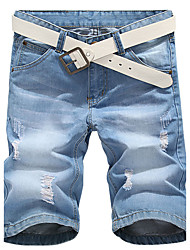 Da uomo A vita medio-alta Semplice Jeans Pantaloncini Pantaloni,Taglia piccola Tinta unita