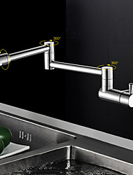 Contemporain Pot Filler Montage mural Pivotant with  Soupape céramique Mitigeur un trou for  Chrome , Robinet de Cuisine