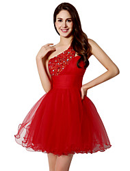 A-Line One Shoulder Short / Mini Tulle Cocktail Party Homecoming Dress with Crystal Detailing Sequins by Sarahbridal