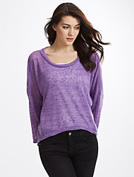 cheap -Women's Long Sleeves Wool Pullover - Patchwork, Layered