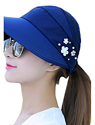 cheap -Women Summer Print Pearl Flower Decoration Empty Top Hat Beach Sun Sunscreen Anti-UV Outdoor Travel Folding Cap