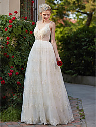 A-Line V-neck Floor Length Lace Wedding Dress with Appliques by LAN TING BRIDE®