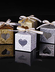 cheap -Cubic Card Paper Favor Holder with Sparkling Glitter Ribbon Tie Favor Boxes - 25