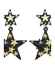 Недорогие -Жен. Серьги-слезки - Звезда Классический Золотой с черным Назначение Повседневные