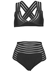 cheap -Women's Solid Solid Bandeau Bikini Swimwear,Polyester Mesh Black