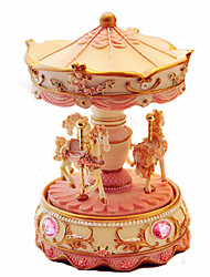 cheap -Music Box Toys Cute Lighting Cylindrical Carousel Merry Go Round Resin Pieces Unisex Gift