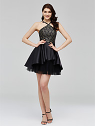 A-Line Spaghetti Straps Short / Mini Lace Tulle Mikado Cocktail Party Homecoming Dress with Pleats by TS Couture®
