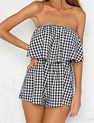 cheap -Women's Daily Going out Cute Sexy Check Strapless Rompers,Loose Slim Sleeveless Summer