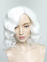 abordables -Mujer Pelucas sintéticas Corta Ondulado Medio Blanco Peluca de carnaval Peluca natural Peluca de Halloween Pelucas para Disfraz