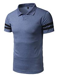 abordables -Hombre Activo Estampado - Algodón Camiseta, Cuello Camisero A Rayas
