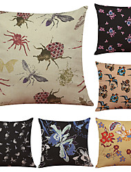 Set of 6 Popular Printing Insects Pattern Linen Pillowcase Sofa Home Decor Cushion Cover  Throw Pillow Case (18*18inch)