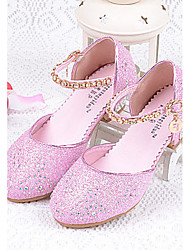 cheap -Girls' Shoes Glitter Summer Comfort Heels Sparkling Glitter for Casual Silver Blue Pink