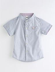 billige -Baby Drenge Ensfarvet Kortærmet Bomuld Skjorte