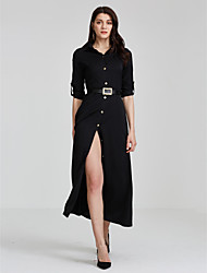 Women's Party Sexy Loose Dress,Solid Shirt Collar Maxi Long Sleeves Fall Mid Rise Inelastic Medium