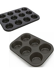 2 pieces set 6 cups big size muffin cake pan 12 cups small size muffin cake mould food grade carbon steel FDA