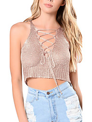 Women's Going out Club Holiday Sexy Simple Knit Street chic Criss-Cross Midriff-baring Spring Summer Tank TopSolid Deep V Sleeveless Medium