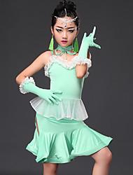 cheap -Latin Dance Dresses Kid's Performance Viscose Splicing 5 Pieces Sleeveless Dress Gloves Shorts Neckwear