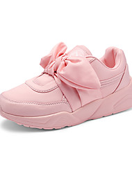 cheap -Women's Shoes PU Spring Fall Comfort Sneakers Round Toe Closed Toe Lace-up For Casual Black Brown Green Blushing Pink