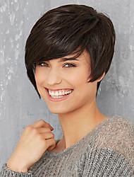 baratos -Perucas de cabelo capless do cabelo humano Cabelo Humano Liso Com Franjas Parte lateral Curto Fabrico à Máquina Peruca Mulheres / Reto