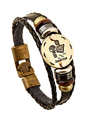 Men's Women's Leather Bracelet Friendship Vintage Costume Jewelry Leather Round Jewelry For Anniversary Gift Valentine