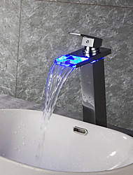 Contemporary Art Deco/Retro Modern Deck Mounted Waterfall Thermostatic LED Ceramic Valve One Hole Single Handle One Hole Chrome ,