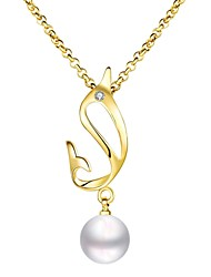 Women's Pendant Necklaces Chain Necklaces Imitation Pearl AAA Cubic Zirconia Single Strand Round Geometric IrregularImitation Pearl