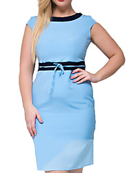 Women's Plus Size Work Party Vintage Bodycon Dress,Color Block Round Neck Knee-length Above Knee Short Sleeve Cotton Polyester SummerHigh