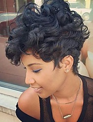 cheap -Women's Human Hair Capless Wigs Curly African American Wig Side Part Pixie Cut With Bangs Short Natural Black Beige Blonde//Bleach Blonde