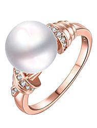 preiswerte -Damen Statementringe Ring Imitierte Perlen Modisch individualisiert Euramerican Luxus-Schmuck Sterling Silber Künstliche Perle Kreisform