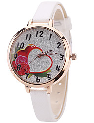 cheap -Women's Fashion Watch Wrist Watch Quartz PU Band Unique Creative Cool Casual Cute Silver Powder Multi-colored Heart Shape Alloy Dial Watches