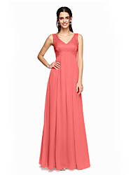 cheap -A-Line V Neck Floor Length Chiffon Lace Bridesmaid Dress with Pleats by LAN TING BRIDE®