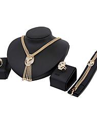 Smykke Sæt Mode Euro-Amerikansk Klassisk Rhinsten Smykker Guld 1 Halskæde 1 Par Øreringe 1 Armbånd Ringe ForBryllup Fest Speciel